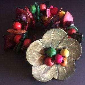 Custom made painted wooden flower bracelet